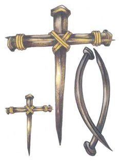 Christian Cross | tattoos on 1 card christian fish and 2 nail cross cr 16 3 x4