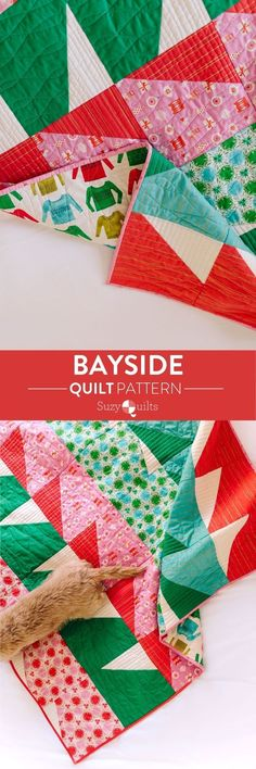 The Bayside quilt pattern from Suzyquilts.com is a fun and modern quilt pattern that comes with five size options from Baby to King. It's perfect for showing off your favorite holiday fabric line! #babyquilt #holidaysewing #dogsonquilts