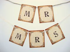 Rustic vintage style Mr & Mrs chair decor
