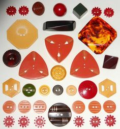 "36 Vintage Bakelite Buttons that measure 1/2"" - 1 1/2"". There are gears, carved, shapes & other great designs  SOLD $51.29"