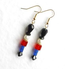 Nutcracker Earrings, Christmas Toy Soldiers Whimsical Jewelry, Swarovski Pearls Czech Crystals, Holiday 2013 Trends Gift, Under 20 Dollars