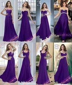 8 Types Cadbury Purple Chiffon Bridesmaids Dresses Evening Prom Gowns Size 6-26 | eBay