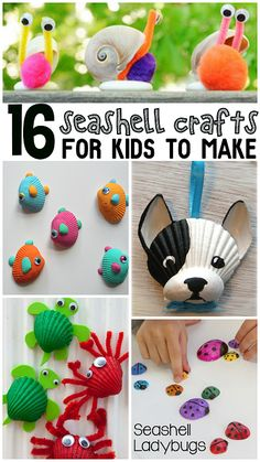 16 Seashell Crafts for Kids. Use all of the seashells you've found on vacation to make fun and colorful crafts with your kids for summer.