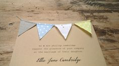 Handmade bunting wedding invitations by Tikety Boo Design. Made to order, with love and care. Wedding Invitations Uk, Wedding Stationery, Stationery Design, Bunting, Marriage, Handmade, Mariage, Hand Made, Garlands