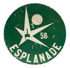 Metal sign-post Esplanade for the World Exhibition held in 1958 in Brussels design Lucien de Roeck 1915-2002 / Belgium