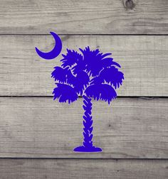 Palmetto Tree & Moon - SC - Beach - Palm - South Carolina - Vinyl Decal #Oracal #Traditional