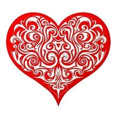 tatuaggio cuore: Cuore forma tatuaggio con ornamento decorativo interno