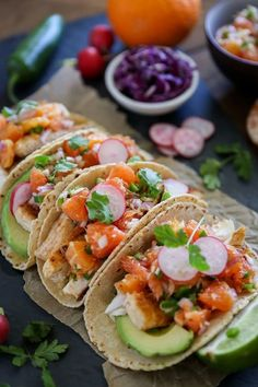 Pan-seared halibut tacos with fresh and flavorful cara cara orange salsa. Fish tacos are a quick, healthful, flavorful meal that's easy to whip up any night of the week! This post is sponsore… Avocado Recipes, Fish Recipes, Seafood Recipes, Tilapia Recipes, Quesadillas, Tostadas, Enchiladas, Healthy Fruits, Healthy Snacks