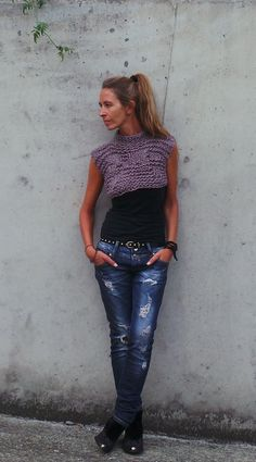 Heather toned  Bamboo cropped tank/vest