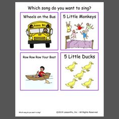 "Here is a free sample of a choice board of ""which song do you want to sing?"" - Made at LessonPix Activity Games, Activities, 5 Little Monkeys, Choice Boards, Little Duck, Wheels On The Bus, Circle Time, Picture Cards, Special Needs"