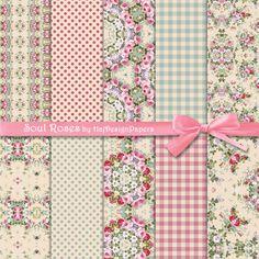 Soul Roses - Instant Download, Digital Collage Sheet, Digital Paper, Scrapbook Paper, Decoupage Paper, Shabby Chic Paper, Floral Paper