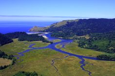 The Salmon River as it meets the Pacific Ocean just North of Lincoln City, Oregon.
