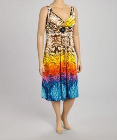Loving this Coffee & Blue Animal Surplice Sleeveless Dress - Plus on #zulily! #zulilyfinds