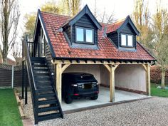 Beautiful timber frame cart lodges can be designed and built to your requirements. Design Garage, Carport Designs, Detached Garage Designs, Pergola Designs, Pergola Ideas, Carport Plans, Carport Garage, Pergola Carport, Timber Frame Garage