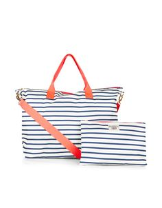 Our nautical striped packable weekender bag folds up into a neat 3a2a349b24964