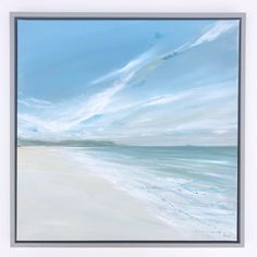 Jane Skingley, Polzeath Beach Looking West, original oil painting on canvas, 50x50cm Beach Look, Oil Painting On Canvas, Still Life, Landscapes, Waves, The Originals, Outdoor, Paisajes, Outdoors