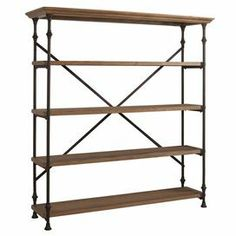"""Metal-framed bookcase with 4 tiers and turned detailing.    Product: BookcaseConstruction Material: Oak veneer, solid hardwood and metalColor: Distressed oak and antique bronzeFeatures:  Four display shelvesX-crossed back   Dimensions: 75"""" H x 68"""" W x 20"""" D"""