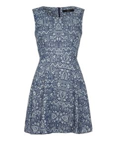 Blue Tribal Sleeveless Dress