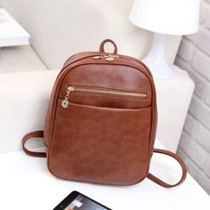RU&BR Preppy Style Leather Backpacks Women Shopping Clutch Designer Fresh Casual Girls Backpacks Candy Shoulders Bags