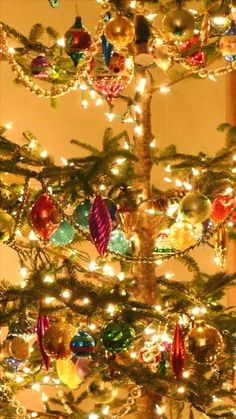 "Isn't this tree lovely!  This is from the blog, ""An Urban Cottage.""  It describes the total remodeling of an 1842 home, in the most lovely and tasteful decor.  I just love reading about the process.  I love this photo of the lights and baubles!"
