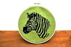 Embroidery Hoop Art Zebra by SacreCoeurVintage on Etsy, $22.00