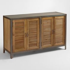 Double Shutter Doors Holbrook Sideboard: Brown - Wood by World Market Side Board, Industrial Chic, Industrial Furniture, Vintage Industrial, World Market Store, Shutter Doors, Wooden Cabinets, Bar Cabinets, Storage Cabinets