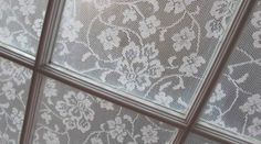 close-up of final lace window treatment