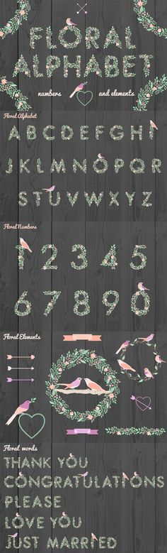 Floral Alphabet by Julia Dreams | The Comprehensive, Creative Vectors Bundle Mar 2015 from Design Cuts