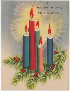 Vintage Greeting Card Christmas UNUSED Candles Pine e531