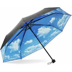 50+ Anti-UV Sun Protection Parasols Blue Sky White Clouds Folding Travel Umbrella (Inner sky clouds) (blue sky)