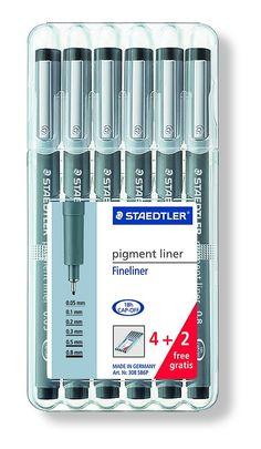 Staedtler Pigment Liner Bonus Sketch Set of 6 Liners for the Regular Price of 4(2 free), 308SB6P