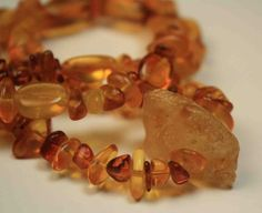Amber Nugget Necklace Congac and Honey by QuietMind on Etsy, $50.00
