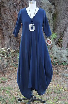 Oh My Gauze Cotton Lagenlook Bella Long Dress OSFM M L XL 1x Sapphire | eBay