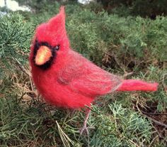 Needle Felted Cardinal Red Bird by ClaudiaMarieFelt on Etsy, $90.00