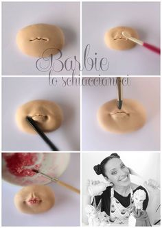 Sugarpaste Mouth, by Barbie lo Schiaccianoci Polymer Clay Figures, Polymer Clay Dolls, Fondant Figures, Polymer Clay Crafts, Diy Clay, Fondant Tutorial, Doll Tutorial, Fondant People, Decoration Patisserie