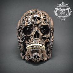 Hand Sculpted Memento Mori Style Wall Hanging Skull