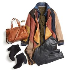 Layer up this fall with unexpected pairings, like a blanket cardigan over a chambray shirt. Top the look off with booties and a cognac satchel for the perfect autumnal look.