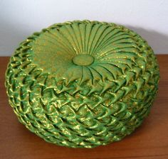 Smocked Pleated Round Pillow is in Green Shimmer