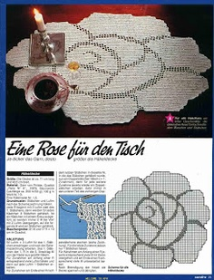 Rose filet work with diagram