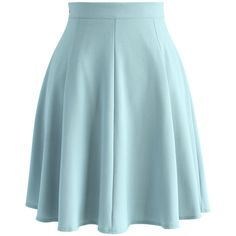 Chicwish Closet Essential A-line Skirt in Pastel Blue ($42) ❤ liked on Polyvore featuring skirts, bottoms, saias, blue, blue skirt, pastel skirt, summer skirts, knee length a line skirt and pastel blue skirt