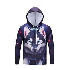 e9c961d1f299 Men Wolf Head Long Sleeve Casual 3D Printed Hooded T-shirt MCT3D003
