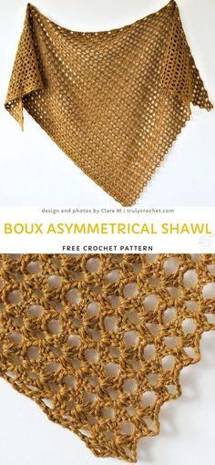 Boux Asymmetrical Shawl Free Crochet Pattern