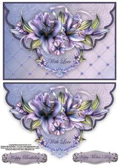 Winter lilies envelope card with decoupage on Craftsuprint designed by Amanda McGee - Stunning envelope card featuring lilies.