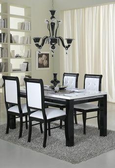 Genial Table De Salle à Manger Rectangulaire Design Laquée Blanche Et Noire Doria    Buffet/bahut
