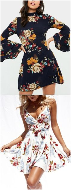 Floral Print Perkins Collar Flared Sleeves Dress
