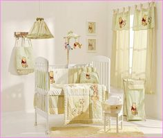 A Cream Yellow Winnie The Pooh Collection 4 Pc Crib Bedding Set