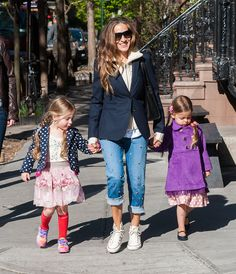 Sarah Jessica Parker is ever the chic mom when dropping off twins Marion and Tabitha to school, and her style genes have certainly trickled down to her adorable duo in the form of playful dresses in bold prints and fun colors.