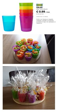 Lekkere, gezonde, kleurrijke en (relatief) goedkope traktatie! ipv bekertjes kan je ook bakjes gebruiken natuurlijk...
