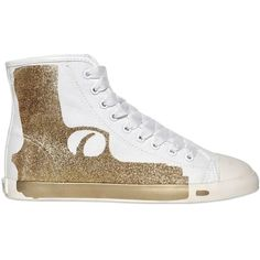 Pre-owned Be&d Maison Dumain By Be & D Pistol High Top Glitter Gold... ($110) ❤ liked on Polyvore featuring shoes, sneakers, glitter gold, hi tops, gold sneakers, high top trainers, high top sneakers and gold high tops