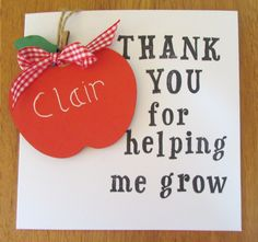 Send a thank you that lasts forever with this keepsake card. Apple is made of MDF and handpainted. Lettering is also done by hand and can be customised to your requirements. The ornament can be removed and kept by the recipient.Card measures approx 6 x 6